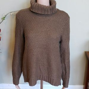 Brown wool blend turtleneck chunky knit sweater